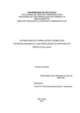 FACULDADE DE CIÊNCIAS FARMACÊUTICAS PROGRAMA DE
