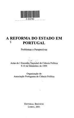 A REFORMA DO ESTADO EM * PORTUGAL
