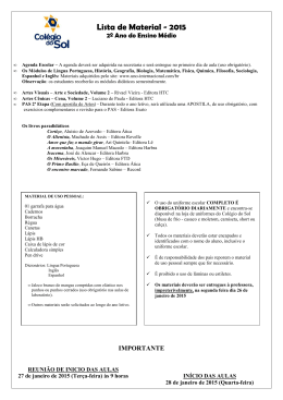 Lista de Material 2ª Série EM 2015
