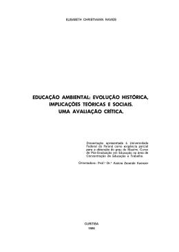 EDUCAÇÃO AMBIENTAL: EVOLUÇÃO HISTÓRICA