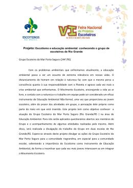 Projeto: Escotismo e educação ambiental: conhecendo o grupo de