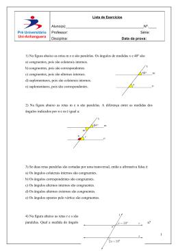 1) Na figura abaixo as retas m e n são paralelas. Os ângulos de