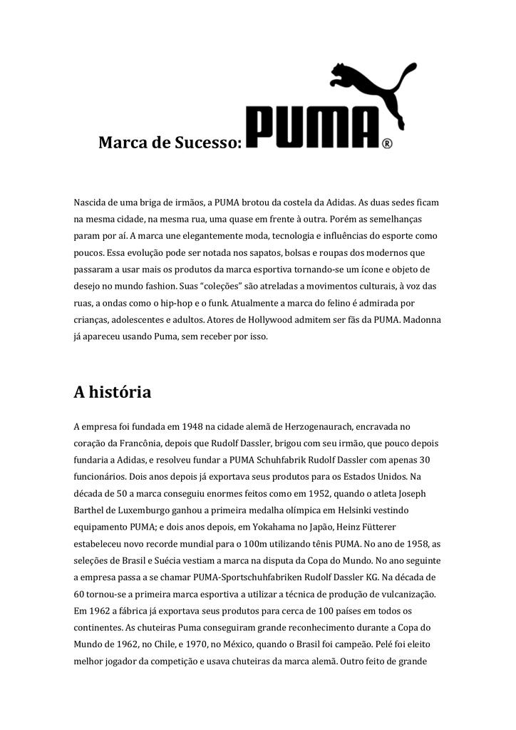 28a409ba8 Marca de Sucesso: Puma