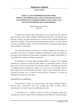 TRABALHOS TÉCNICOS Divisão Jurídica MARCAS x LEI DE