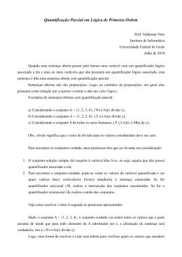 Quantificação Parcial em Lógica de Primeira Ordem