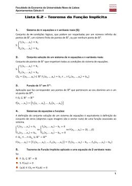 Lista 6.2 – Teorema da Função Implícita
