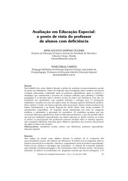 Avaliação em Educação Especial: o ponto de vista do professor de