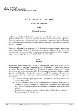 Regulamento do Concurso Educação Especial