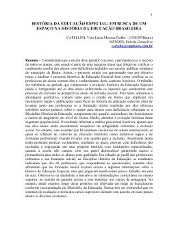 HISTÓRIA DA EDUCAÇÃO ESPECIAL: EM BUSCA DE