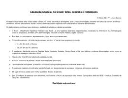 Educação Especial no Brasil: fatos, desafios e realizações