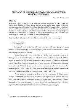 EDUCAÇÃO DE JOVENS E ADULTOS e EDUCAÇÃO ESPECIAL