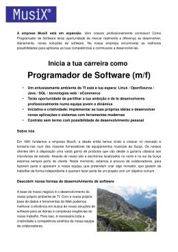 Inicia a tua carreira como Programador de Software (m/f)