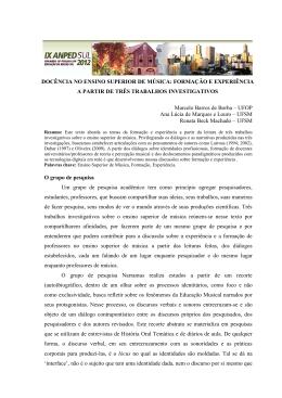 DOCÊNCIA NO ENSINO SUPERIOR DE MÚSICA