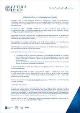 Regras e Regulamentos dos Exames - CATÓLICA