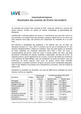 Resultados dos exames do Ensino Secundário