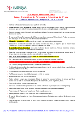 Informações importantes sobre Exames Nacionais de L. Portuguesa