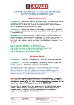 manual do candidato para os exames de certificação