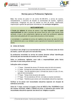 Secretariado de exames Normas para os Professores Vigilantes