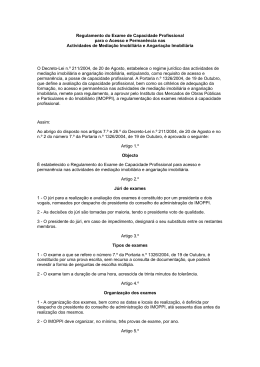 Regulamento do Exame de Capacidade Profissional para o Acesso
