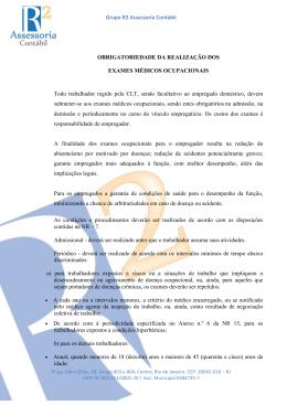 Obrigatoriedade da Realização dos Exames Médicos Ocupacionais
