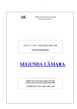 SEGUNDA CÂMARA - Tribunal de Contas da União