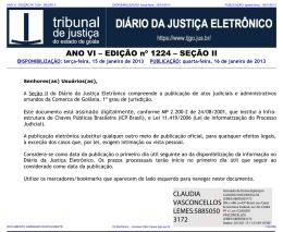 TJ-GO DIÁRIO DA JUSTIÇA ELETRÔNICO - EDIÇÃO 1224