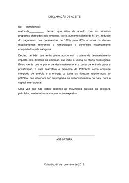 DECLARAÇÃO DE ACEITE Eu, petroleiro(a) , matrícula__________