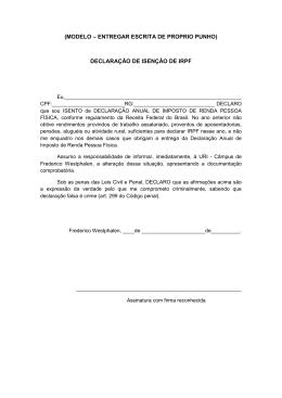 (MODELO – ENTREGAR ESCRITA DE PROPRIO PUNHO