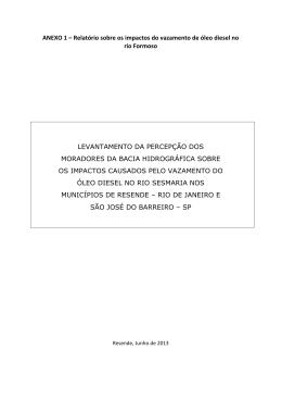 ANEXO 1 – Relatório sobre os impactos do