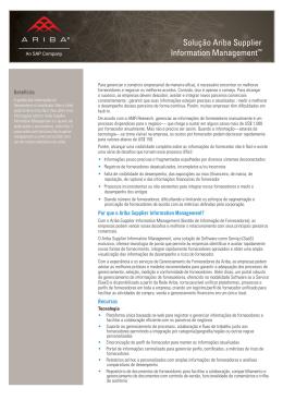 Solução Ariba Supplier Information Management -Portuguese