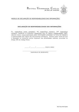 MODELO DE DECLARAÇÃO DE RESPONSABILIDADE - PUC-Rio