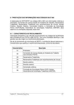 8 - PRESTAÇÃO DAS INFORMAÇÕES NOS CÓDIGOS 650 E 660 A