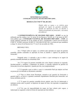 Resolução CNSP No 296, de 2013 - Superintendência de Seguros