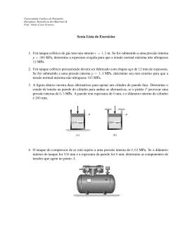 Sexta Lista de Exercıcios 1. Um tanque esférico de gás