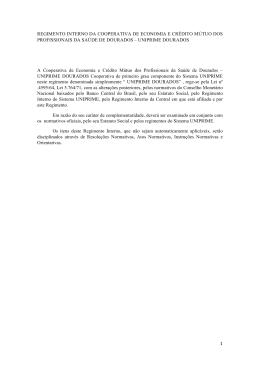 Regimento Interno - Uniprime Dourados