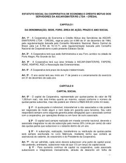 ESTATUTO SOCIAL DA COOPERATIVA DE ECONOMIA E