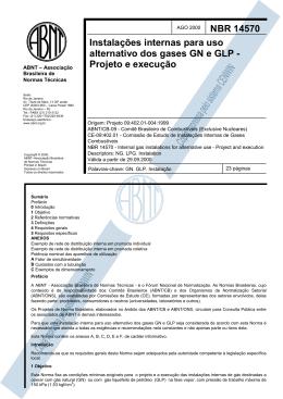 NBR 14570 Instalações internas para uso alternativo dos gases GN