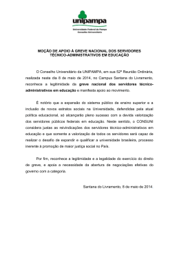 Moção de apoio à greve dos servidores TAEs