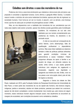 Cidadãos sem direitos: o caso dos moradores de rua