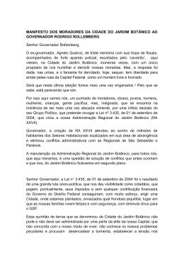 MANIFESTO DOS MORADORES DA CIDADE DO JARDIM