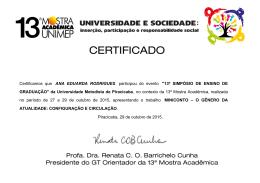 Certificamos que ANA EDUARDA RODRIGUES participou