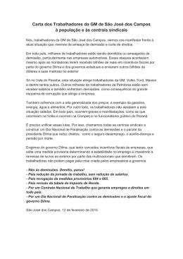 Carta dos Trabalhadores da GM de São José dos Campos à