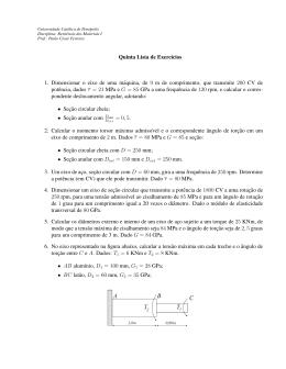 Quinta Lista de Exercıcios 1. Dimensionar o eixo de