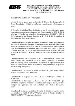 RESOLUÇÃO CONSEMA Nº 003/2011 Institui diretrizes gerais
