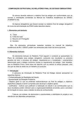 estrutura do relatório de estágio obrigatório - Esag