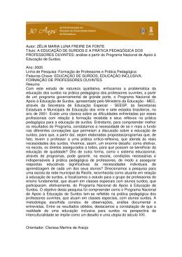 A EDUCAÇÃO DE SURDOS E A PRÁTICA PEDAGÓGICA DOS