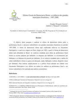 a evidência dos grandes municípios brasileiros