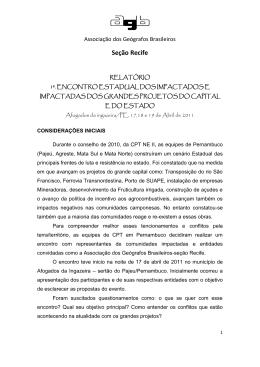 Seção Recife - Associação dos Geógrafos Brasileiros