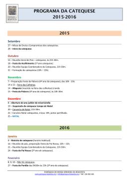 Faça aqui o do Programa da Catequese 2015-2016