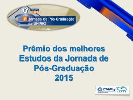Prêmio dos melhores Estudos da Jornada de Pós